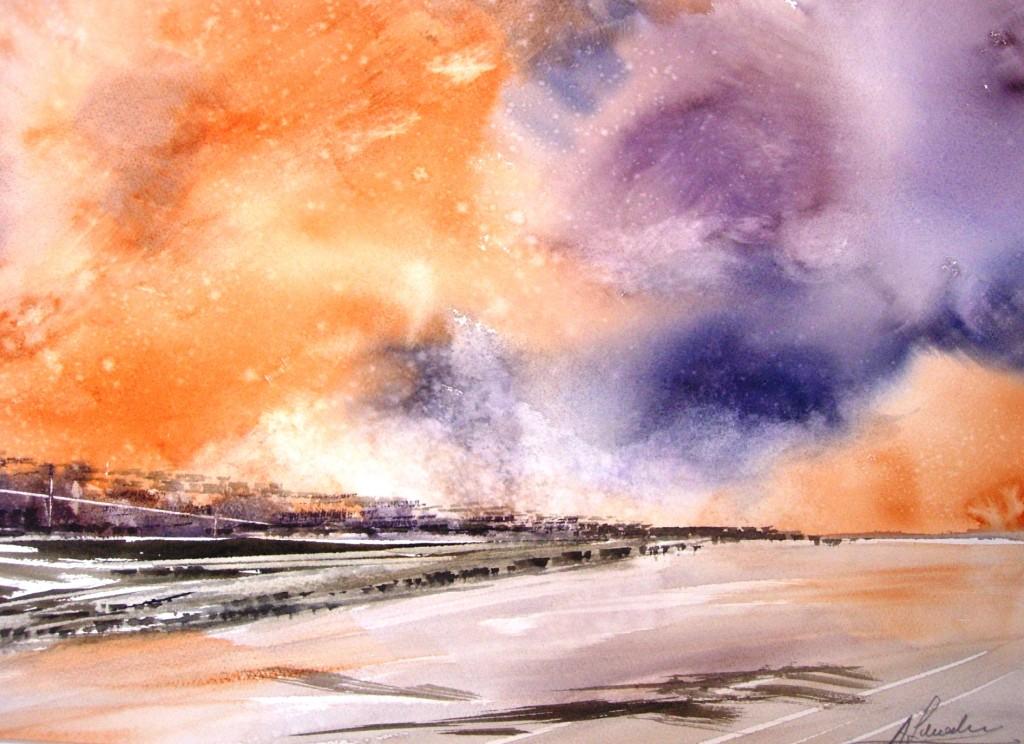 """Acquerello della serie """" cieli di altri mondi""""  Paesaggio su Titano"""
