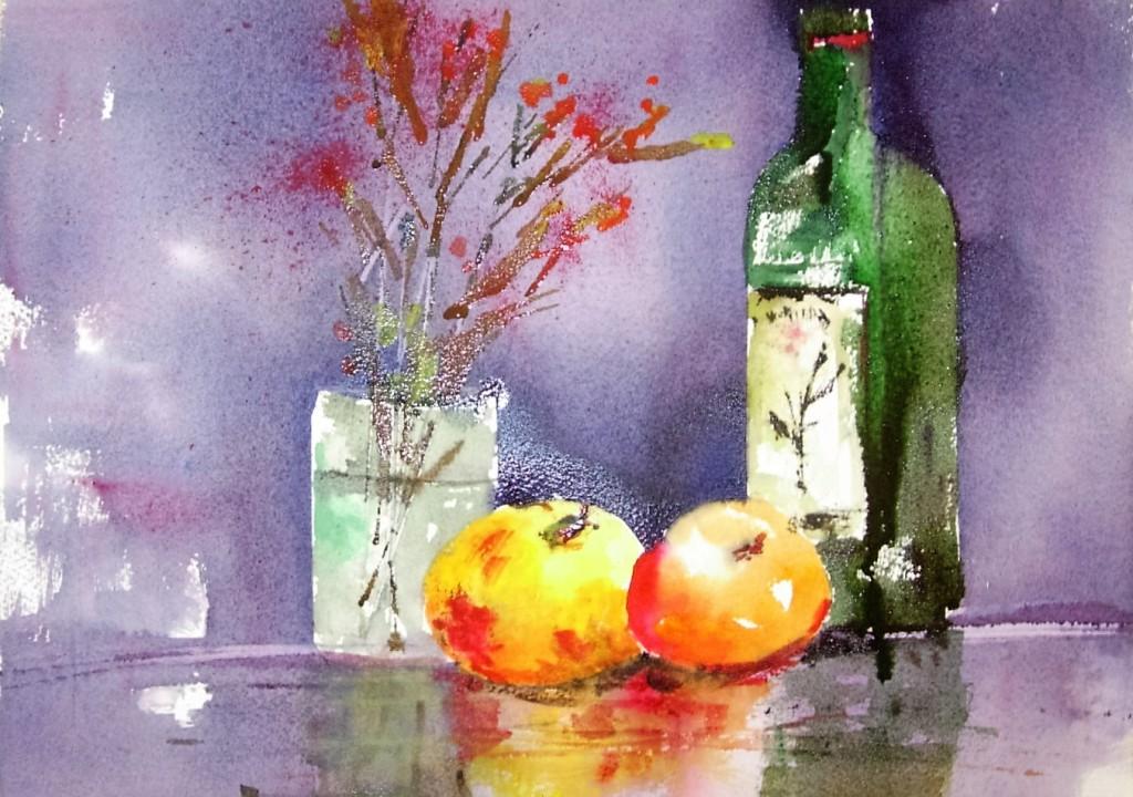 Serie natura moribonda  Olio extra vergine di oliva con mele e fiori